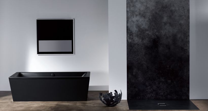 schwarz im badezimmer. Black Bedroom Furniture Sets. Home Design Ideas